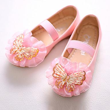 בנות נעליים PU אביב / סתיו חדשני / נעליים לילדת הפרחים שטוחות פפיון / חרוזים / סרט גומי ל לבן / ורוד / מסיבה וערב