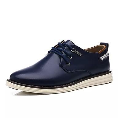 Miesten kengät Kiiltonahka Kevät / Syksy Comfort / Bullock kengät Oxford-kengät Kävely Ruskea / Musta / Sininen / Juhlakengät