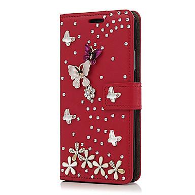 מגן עבור Apple iPhone X iPhone 8 Plus מחזיק כרטיסים ריינסטון עם מעמד כיסוי מלא פרח קשיח עור PU ל iPhone X iPhone 8 Plus iPhone 8 iPhone 7