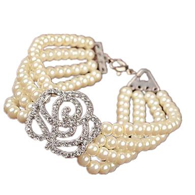 בגדי ריקוד נשים צמידי Strand צמידי גלישה - דמוי פנינה נשים, אופנתי צמידים תכשיטים לבן עבור יומי ליציאה