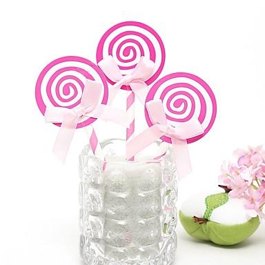 קישוטים לעוגה חתונה / משפחה / חברים ממתק נייר חתונה / יום הולדת עם סגנון רצועות תחבושות / קשר קשת מסאטן 6 pcs OPP