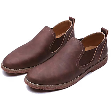 בגדי ריקוד גברים אור סוליות PU אביב / סתיו נעליים ללא שרוכים כחול כהה / חום בהיר / חום כהה