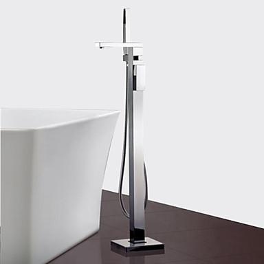 Contemporary Floor Mounted Floor Standing Ceramic Valve One Hole Single Handle One Hole Chrome, Bathtub Faucet