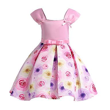 שמלה כותנה פוליאסטר אביב קיץ שרוולים קצרים יומי ליציאה אחיד פרחוני הילדה של חמוד פעיל ורוד מסמיק