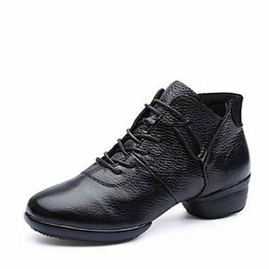 בגדי ריקוד נשים מגפי ריקוד עור נאפה Leather נעלי ספורט / סוליה חצויה עקב נמוך מותאם אישית נעלי ריקוד לבן / שחור / אדום