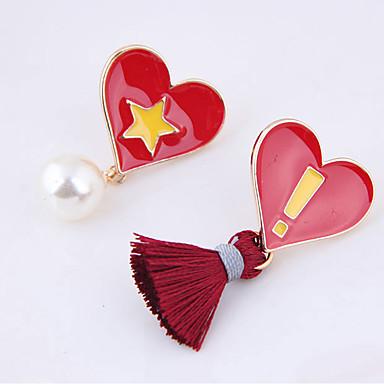 בגדי ריקוד נשים פרנזים / לא תואם עגילי טיפה - לב צִיצִית שחור / אדום עבור יומי