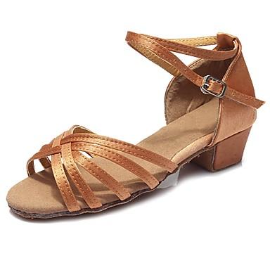 נעליים לטיניות סטן סנדלים / עקבים אבזם עקב עבה מותאם אישית נעלי ריקוד חום כהה