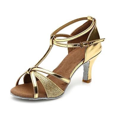 בגדי ריקוד נשים נעליים לטיניות נצנצים / דמוי עור סנדלים / עקבים אבזם / Paillette עקב עבה מותאם אישית נעלי ריקוד זהב
