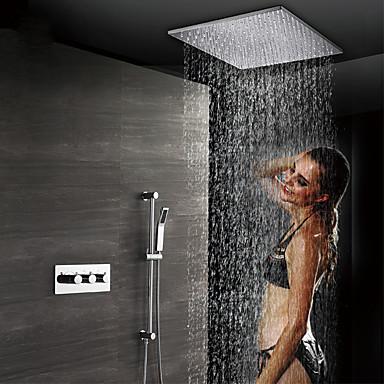 קיר עכשווי מותקן גשם מקלחת handshower כלל תרמוסטטי קרמיקה שסתום שלושה מטפל ארבעה חורים כרום, ברז מקלחת