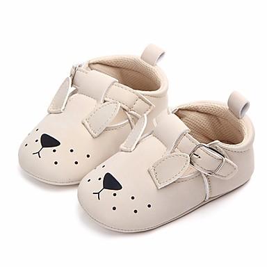 baratos Sapatos de Criança-Para Meninas Courino Rasos Conforto / Primeiros Passos / Sapatos de Berço Laço / Velcro Bege / Amarelo Primavera / Outono