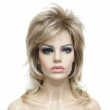 Synthetic Wig Straight Blonde Layered Haircut Light golden Light Brown Synthetic Hair Women's 100% kanekalon hair / Highlighted / Balayage Hair Blonde Wig Medium Length Capless StrongBeauty
