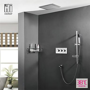 עכשווי מותקן על הקיר מקלחת גשם שפורפרת יד כלולה תרמוסטטי שסתום קרמי שלוש ידיות חמישה חורים כרום, ברז למקלחת