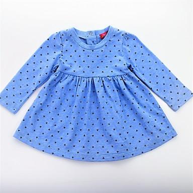 שמלה שרוול ארוך Ruched / קפלים / דפוס פרחוני / קולור בלוק פעיל / בסיסי בנות תינוק / חמוד