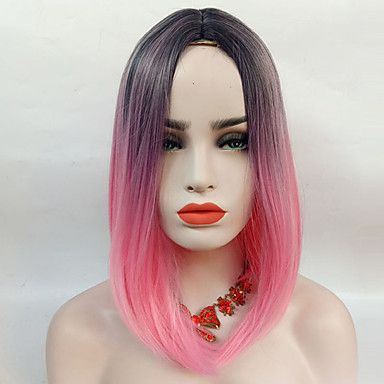 cd930f13a5 Synthetic Wig Straight Style Capless Wig Pink Black / Pink Synthetic Hair  Ombre Hair / Highlighted / Balayage Hair / Middle Part Pink Wig  13cm(Approx5inch) ...