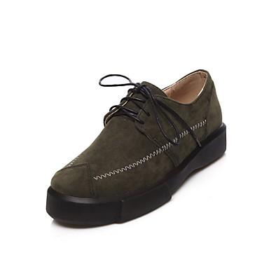 בגדי ריקוד נשים נעליים עור נובוק אביב / סתיו נוחות נעלי אוקספורד מטפסים בוהן עגולה שחור / ירוק / שקד