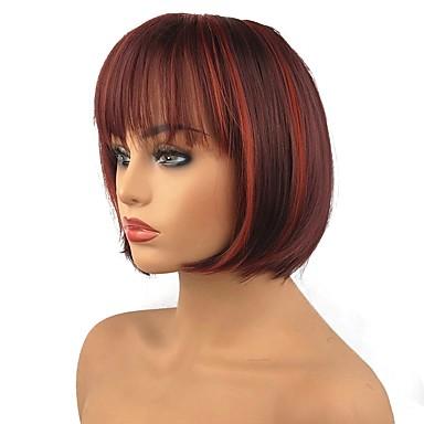 פאות סינתטיות ישר תספורת בוב שיער סינטטי שיער מובהר אדום פאה בינוני ללא מכסה