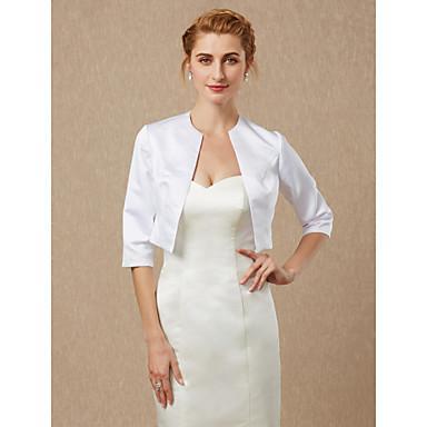חצי שרוול סאטן חתונה / מסיבה\אירוע ערב כיסויי גוף לנשים עם מעיל\ז'קט