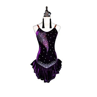 ריקוד לטיני שמלות בגדי ריקוד נשים הצגה שיפון קטיפה קריסטלים / אבנים נוצצות ללא שרוולים עגילים / שרשראות / צמיד