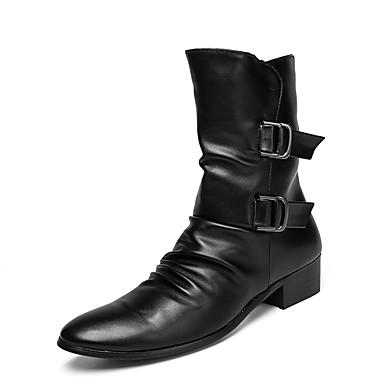 בגדי ריקוד גברים Fashion Boots עור אביב מגפיים מגפיים באורך אמצע - חצי שוק שחור