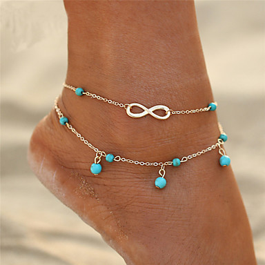New Women Girl Gold Plated Double Chain Star Cross Shape Pearl Anklet Jewelry Au Fashion Jewelry