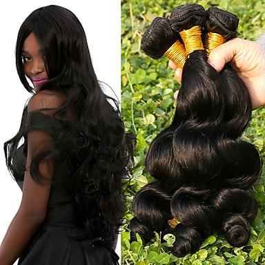 baratos Extensões de Cabelo Natural-4 pacotes Cabelo Brasileiro Ondulação Larga 10A Cabelo Virgem Cabelo Humano Ondulado Tramas de cabelo humano 8a Extensões de cabelo humano