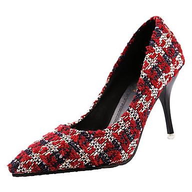 בגדי ריקוד נשים נעליים גומי אביב / סתיו נוחות עקבים עקב סטילטו שחור / אדום