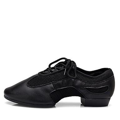 בגדי ריקוד נשים נעלי ג'אז עור נאפה Leather עקבים / סוליה חצויה שטוח מותאם אישית נעלי ריקוד שחור