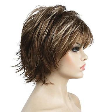 Syntetiska peruker Lockigt Syntetiskt hår Faux Locs Wig / 100% kanekalon hår / Naturlig hårlinje Brun Peruk Dam Korta Cosplay Peruk /