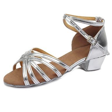 נעליים לטיניות דמוי עור סנדלים / עקבים אבזם עקב עבה מותאם אישית נעלי ריקוד כסף