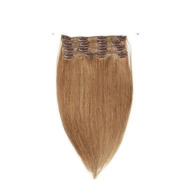 Il Migliore Con Clip Estensioni Dei Capelli Umani 7pcs - Confezione 70g - Pack Marrone Pastello - Strawberry Blonde Brown Medio - Bleach Blonde #06554302