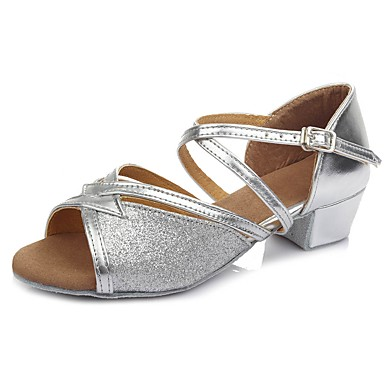 נעליים לטיניות נצנצים / דמוי עור סנדלים / עקבים אבזם עקב עבה מותאם אישית נעלי ריקוד כסף