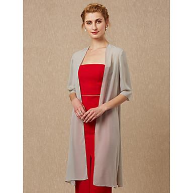 חצי שרוול שיפון חתונה / מסיבה\אירוע ערב כיסויי גוף לנשים עם מעיל\ז'קט