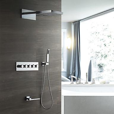 קיר עכשווי מותקן גשם מקלחת handshower כלל תרמוסטטי קרמיקה שסתום חמש מטפל חמישה חורים כרום, ברז מקלחת