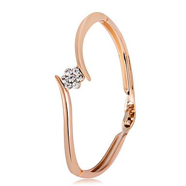 baratos Bangle-Mulheres Zircônia Cubica pequeno diamante Bracelete Flor senhoras Clássico Fashion Rosa ouro Pulseira de jóias Dourado Para Festa Formal / Zircão