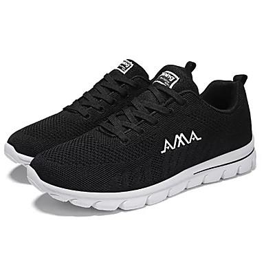 Homens sapatos Tule Primavera Outono Conforto Tênis Caminhada para Atlético Preto Branco/Preto Preto / verde