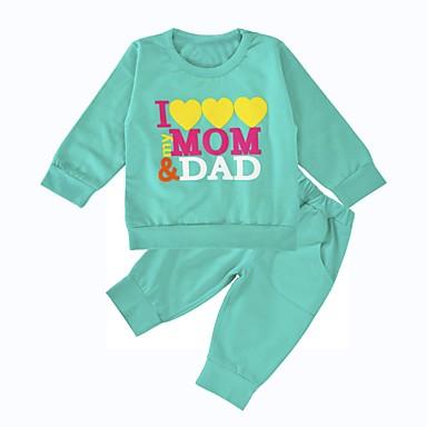 baratos Conjuntos para Meninas-Bebê Unisexo Casual Diário Esportes Estampado Estampado Manga Longa Padrão Padrão Algodão Conjunto Verde