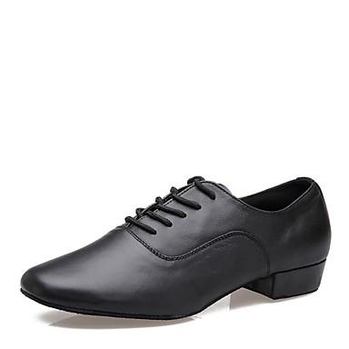 בגדי ריקוד גברים נעליים לטיניות עור נאפה Leather עקבים עקב נמוך מותאם אישית נעלי ריקוד שחור