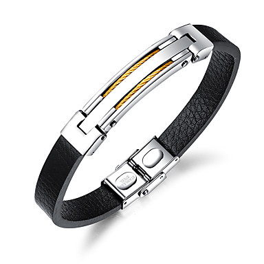 abordables Bracelet-Bracelet Jonc Bracelet ID Bracelets en cuir Homme Cuir Mode Bracelet Bijoux Dorée Noir Argent Forme de Ligne pour Quotidien Sortie