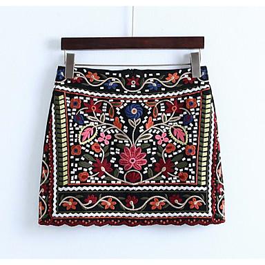 רקמה - חצאיות כותנה יומי / חגים צינור וינטאג' בגדי ריקוד נשים