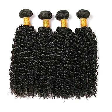 4 חבילות שיער ברזיאלי Kinky Curly 8A שיער אנושי טווה שיער אדם 8-28 אִינְטשׁ שוזרת שיער אנושי תוספות שיער אדם