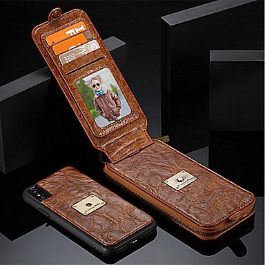 מגן עבור Apple iPhone X iPhone 8 מחזיק כרטיסים ארנק עמיד בזעזועים עם מעמד נפתח-נסגר כיסוי מלא צבע אחיד קשיח עור אמיתי ל iPhone X iPhone 8
