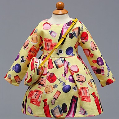שמלה כותנה אביב קיץ שרוול ארוך יומי בית הספר פרחוני קולור בלוק הילדה של חמוד יום יומי צהוב