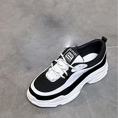 בגדי ריקוד נשים נעליים גומי אביב נוחות נעלי אתלטיקה שטוח בוהן עגולה שחור לבן