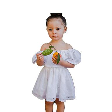 שמלה כותנה אביב קיץ ללא שרוולים יומי חגים אחיד סרוג הילדה של פשוט וינטאג' לבן