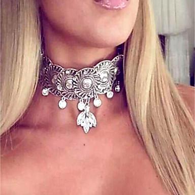 billige Mote Halskjede-Dame Choker Halskjede damer Vintage Mote Oversized Fuskediamant Legering Gull Sølv 37 cm Halskjeder Smykker Til Klubb Bar