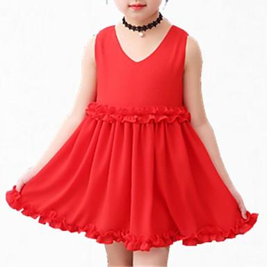 Χαμηλού Κόστους Φορέματα για κορίτσια-Παιδιά Κοριτσίστικα Απλός Βασικό Καθημερινά Μονόχρωμο Μακρυμάνικο Βαμβάκι Πολυεστέρας Φόρεμα Ρουμπίνι / Χαριτωμένο