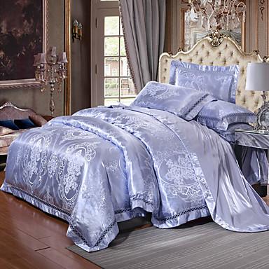 Duvet Cover Sets Luxury 4 Piece Silk/Cotton Blend Jacquard Silk/Cotton Blend 1pc Duvet Cover 2pcs Shams 1pc Flat Sheet