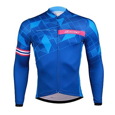 SPAKCT בגדי ריקוד גברים שרוול ארוך חולצת ג'רסי לרכיבה - כחול אופניים ג'רזי, ייבוש מהיר