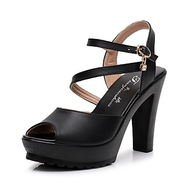 30993710 Mujer Zapatos Microfibra Verano Tira en el Tobillo Sandalias Tacón Cuadrado  Punta abierta Pedrería / Hebilla