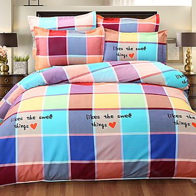 סטי שמיכה צבעוני רשת / דפוסים משובץ 4 חלקים פולי / כותנה 100% כותנה חוט צבוע פולי / כותנה 100% כותנה כיסוי שמיכת יחידה 1 כריות מיטה 2
